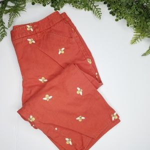 J. Crew honey bee embroidered crop pants red